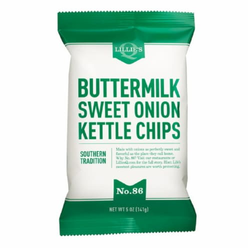 Lillie's Q Carolina Buttermilk Sweet Onion Kettle Chips Southern Tradition 5oz (Pack of 12) Perspective: front