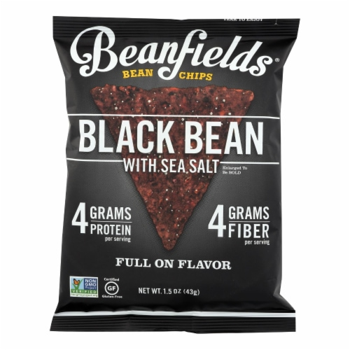 Beanfields - Bean and Rice Chips - Black Bean With Sea Salt - Case of 24 - 1.50 oz. Perspective: front