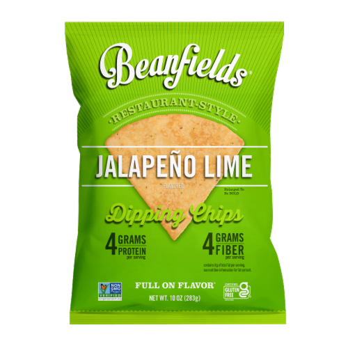 Beanfields Jalapeno Lime Bean Chips, 10oz/4 count, Vegan Snack Perspective: front