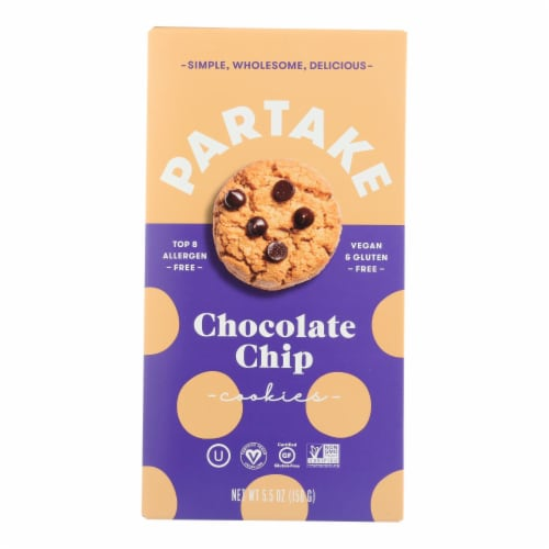 Partake Foods Sprouted Grain Chocolate Chip Mini Cookies - Case of 6 - 5.5 OZ Perspective: front