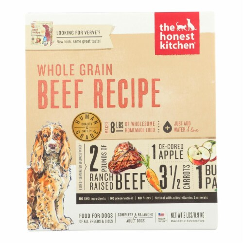 The Honest Kitchen - Dog Food - Whole Grain Beef Recipe - Case of 6 - 2 lb. Perspective: front
