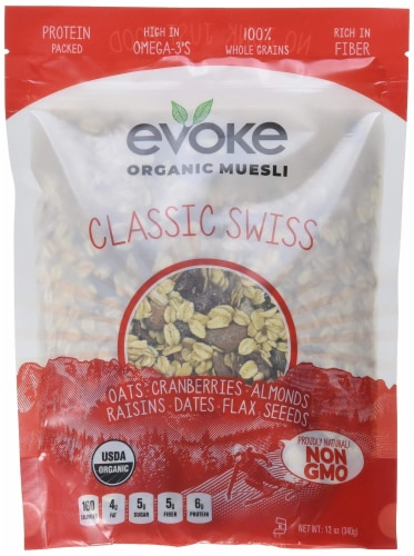 Evoke Organic Muesli Cereal Classic Swiss Non GMO, 12 oz (Pack of 6) Perspective: front