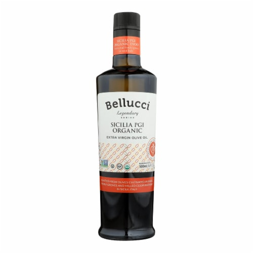 Bellucci Premium Olive Oil - Extra Virgin Sicilia Pgi Organic - Case of 6 - 500 Ml Perspective: front