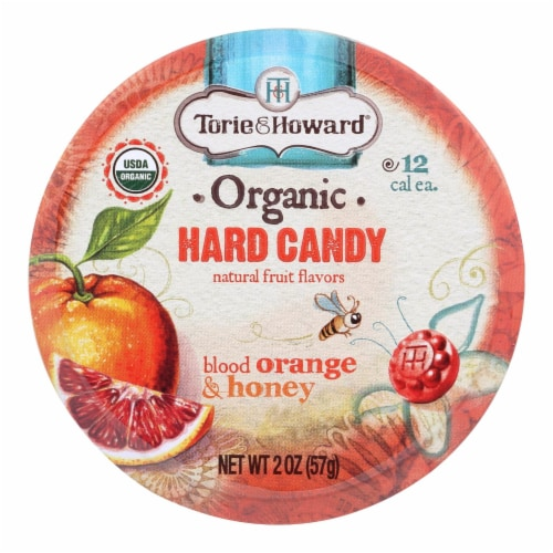 Torie And Howard Organic Hard Candy - Blood Orange And Honey - 2 Oz - Case Of 8 Perspective: front