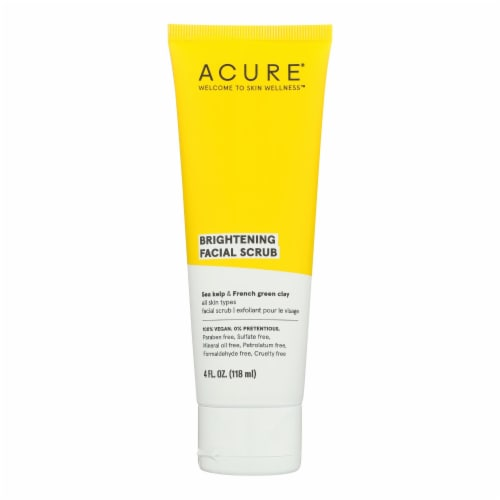 Acure - Brightening Facial Scrub - Argan Extract and Chlorella - 4 FL oz. Perspective: front