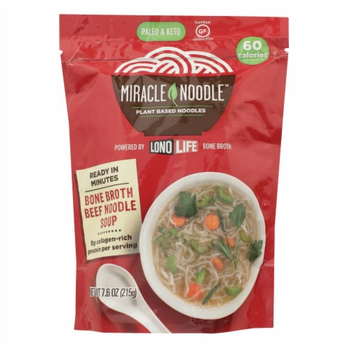 Miracle Noodle - Soup Beef Bone Broth - Case of 6 - 7.6 OZ Perspective: front