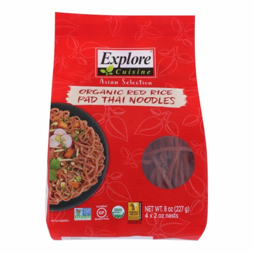 Explore Cuisine Organic Red Rice Pad Thai Noodles - Case of 6 - 8 OZ Perspective: front