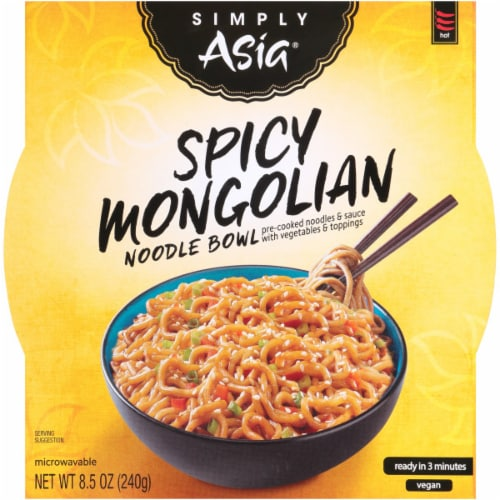 Simply Asia Spicy Mongolian Noodle Bowl 6 Count Perspective: front