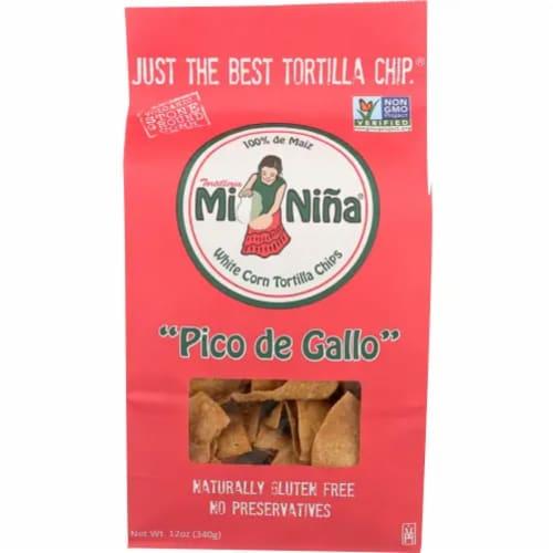 Mi Nina White Corn Tortilla Chips Pico De Gallo Naturally Gluten Free, 12oz (Pack of 9) Perspective: front