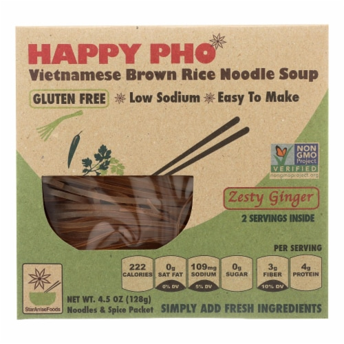 Star Anise Foods Soup-Brown Rice Noodle-Vietnamese-Happy Pho-Zesty Ginger-4.5 oz - case of 6 Perspective: front