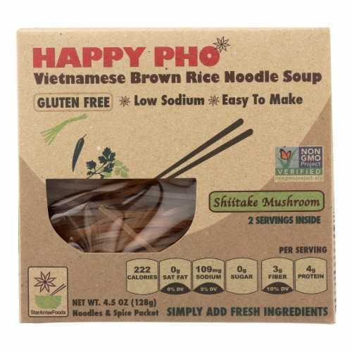 Star Anise Foods Soup - Brown Rice Noodle-Vietnamese-Happy Pho-Shiitake Mushroom-4.5 oz-6Case Perspective: front