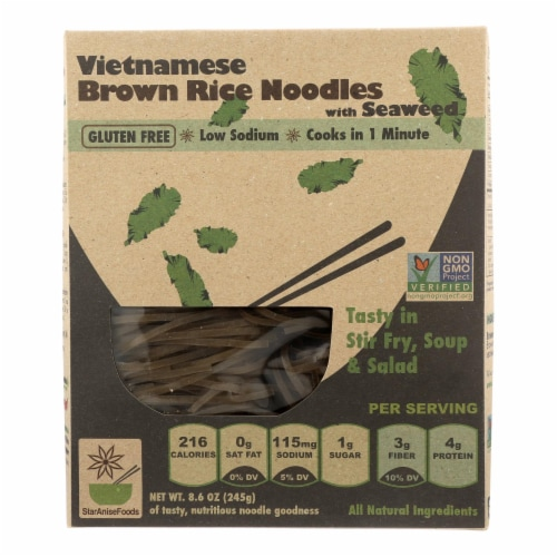 Star Anise Foods Noodles - Brown Rice - Vietnamese - with Seaweed - 8.6 oz - case of 6 Perspective: front