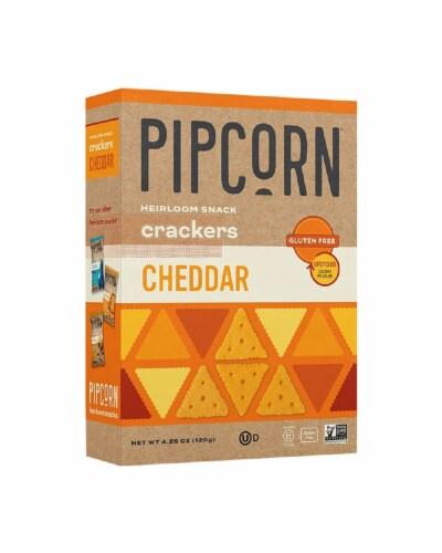 Pipcorn Crackers Cheedar Gluten Free, 4.5oz (Pack of 6) Perspective: front