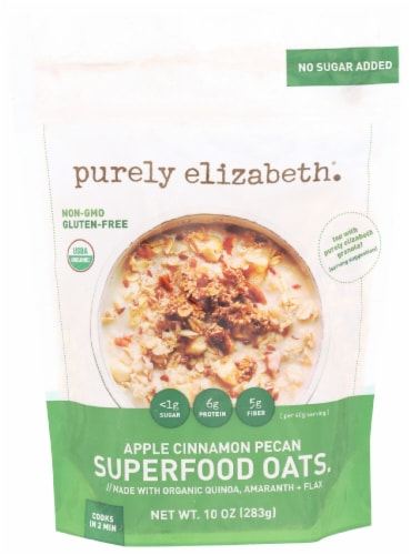 Purely Elizabeth Apple Cinnamon Pecan Superfood Oats Perspective: front