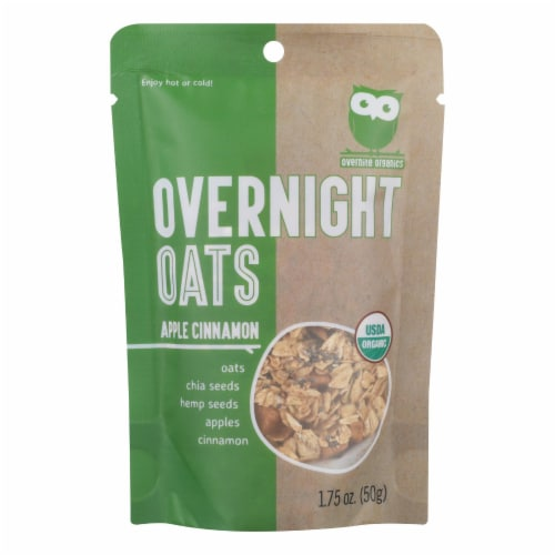Overnite Organics - Overnight Oats Apple Cinnamon - Case of 8 - 1.75 OZ Perspective: front