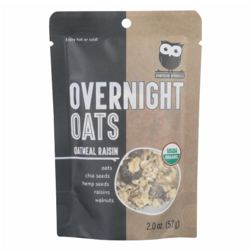 Overnite Organics - Overnight Oats Oatmeal Rsn - Case of 8 - 2 OZ Perspective: front