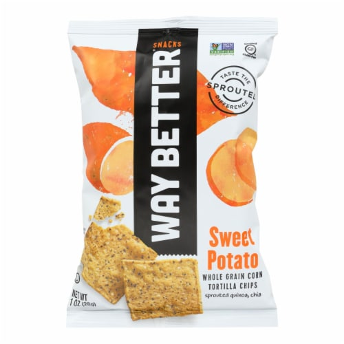 Way Better Snacks Tortilla Chips - Sweet Potato - Case of 12 - 1 oz. Perspective: front
