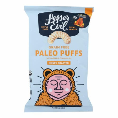 Lesserevil  Grain Free Paleo Puffs Honey Roasted 5oz (Pack of 9) Perspective: front