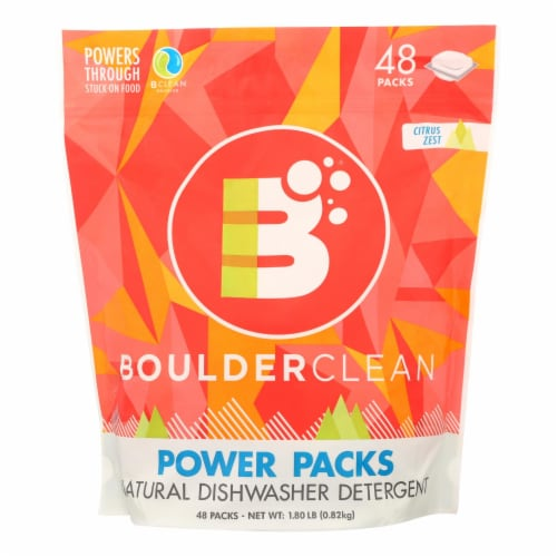 Boulder Clean Power Packs Natural Dishwasher Detergent Effectively  - Case of 6 - 1.8 LB Perspective: front