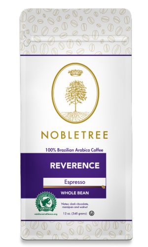 """Nobletree """"Reverence"""" Espresso Roast Whole Bean Coffee, 12 oz Perspective: front"""