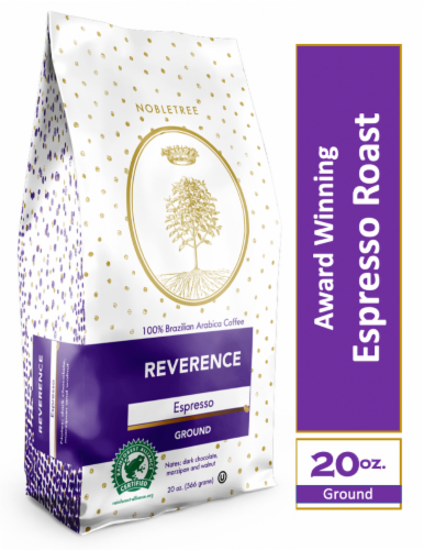 """Nobletree """"Reverence"""" Espresso Roast Ground Coffee, 20 oz Perspective: front"""