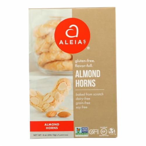 Aleia's - Gluten Free Cookies - Almond Horns - Case of 6 - 9 oz. Perspective: front