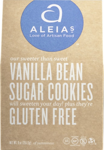 Aleias Vanilla Bean Sugar Cookies, 9 Oz (Pack of 6) Perspective: front