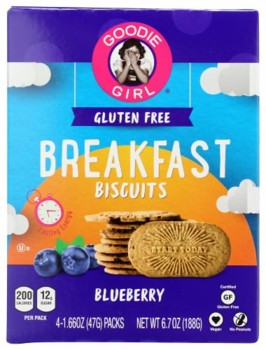 Goodie Girl Gluten Free Breakfast Biscuits Blueberry 7oz Pk6 Perspective: front