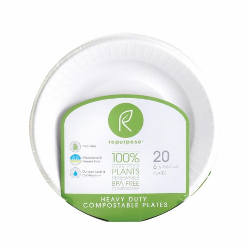 Repurpose Compostable Bagasse Plates - Case of 24 - 20 Count Perspective: front