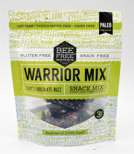 BeeFree Granola Chocolate Warrior Mix Gluten Free,3 oz (Pack of 6) Perspective: front