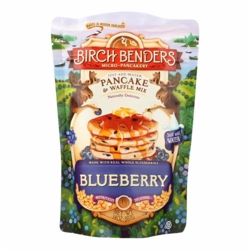 Birch Benders Pancake And Waffle Mix - Blueberry - Case of 6 - 14 oz. Perspective: front
