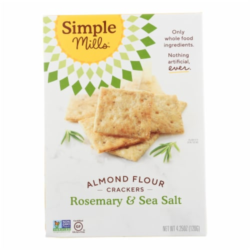 Simple Mills Rosemary and Sea Salt Almond Flour Crackers Perspective: front