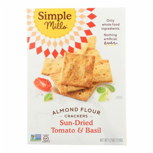 Simple Mills Sun Dried Tomato and Basil Almond Flour Crackers - Case of 6 - 4.25 oz. Perspective: front