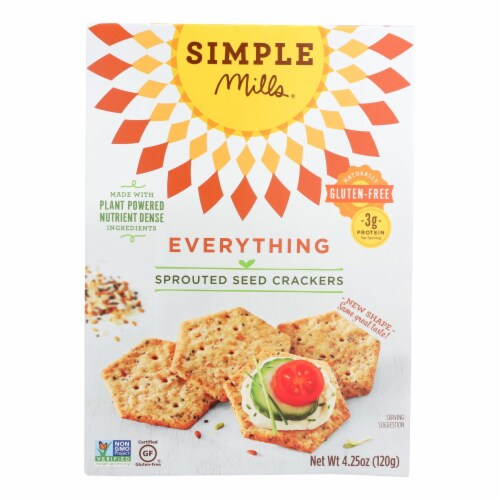 Simple Mills Sprouted Seed Crackers - Everything - Case of 6 - 4.25 oz Perspective: front