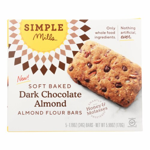 Simple Mills Soft Baked Dark Chocolate Almond Flour Bars (5 Pack) Perspective: front