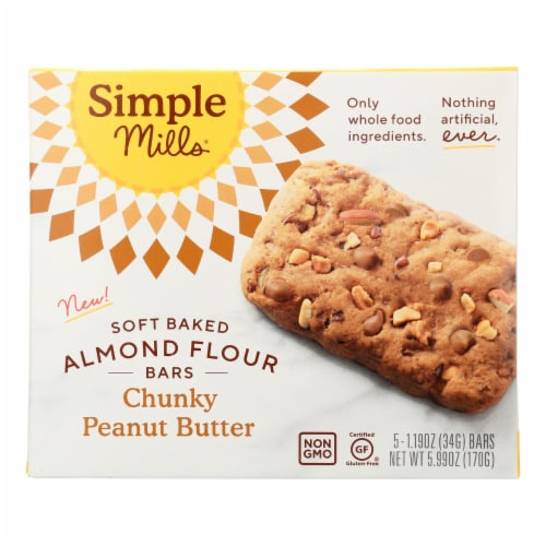 Simple Mills - Bar Sft Baked Chunky Peanut Butter - Case of 6 - 5.99 OZ Perspective: front