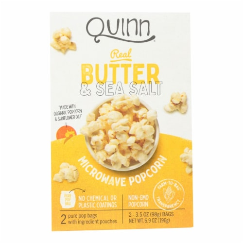 Quinn - Microwave Popcorn - Butter and Sea Salt - Case of 6 - 6.9 oz. Perspective: front