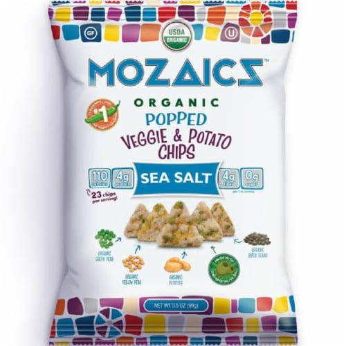 Mozaicz Organic Popped Veggie & Potato Chips Sea Salt, 3.5 oz (Pack of 12) Perspective: front
