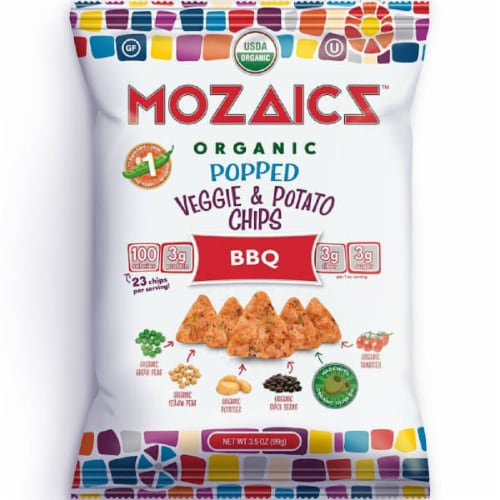 Mozaicz Organic Popped Veggie & Potato Chips BBQ, 3.5 oz (Pack of 12) Perspective: front