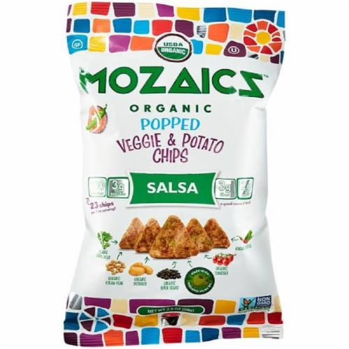 Mozaicz Organic Popped Veggie & Potato Chips Salsa 3.5 oz (Pack of 12) Perspective: front