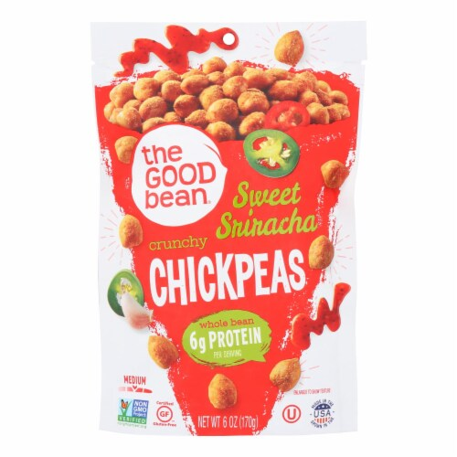 The Good Bean Crunchy Chickpeas Sweet Sriracha Medium - Case of 6 - 6 OZ Perspective: front