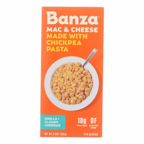 Banza - Chickpea Pasta Mac and Cheese - Shells and Classic Cheddar - Case of 6 - 5.5 oz. Perspective: front
