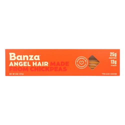 Banza Angel Hair Chickpea Pasta  - Case of 12 - 8 OZ Perspective: front