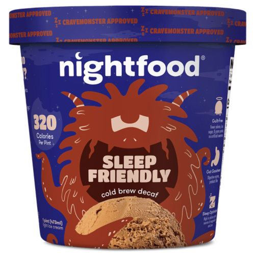 Nightfood, Sleep Expert Approved - Nighttime Ice Cream, Cold Brew Decaf, Pint (8 Count) Perspective: front
