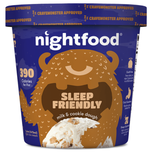Nightfood, Sleep Expert Approved - Nighttime Ice Cream, Milk and Cookie Dough, Pint (8 Count) Perspective: front