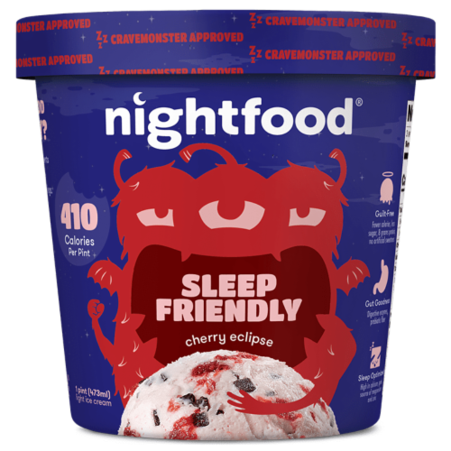 Nightfood, Sleep Expert Approved - Nighttime Ice Cream, Cherry Eclipse, Pint (8 Count) Perspective: front