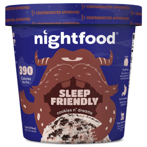 Nightfood, Sleep Expert Approved - Nighttime Ice Cream, Cookies n Dreams, Pint (8 Count) Perspective: front