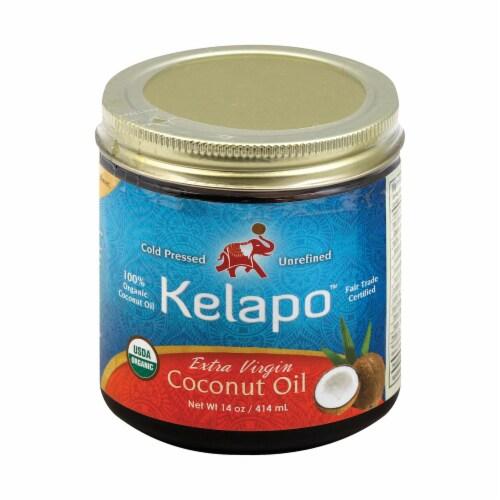 Kelapo Organic Extra Virgin Coconut Oil Amber Glass Jar - Case of 6 - 14 oz. Perspective: front