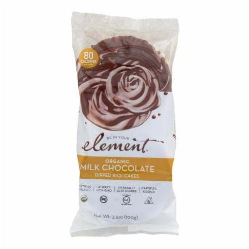 Element Organic Dipped Rice Cakes - Milk Chocolate - Case of 6 - 3.5 oz Perspective: front