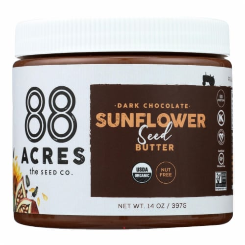 88 Acres - Seed Butter - Chocolate Sunflower - Case of 6 - 14 oz. Perspective: front
